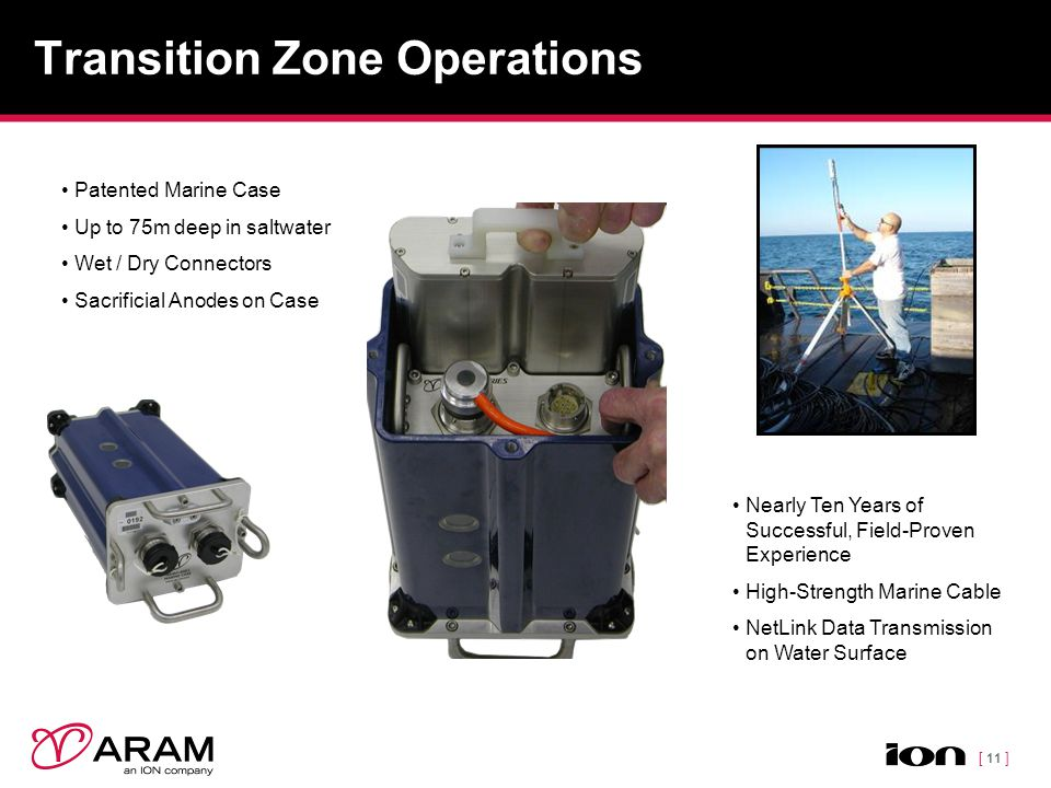 [ 11 ] Transition Zone Operations Patented Marine Case Up to 75m deep in saltwater Wet / Dry Connectors Sacrificial Anodes on Case Nearly Ten Years of Successful, Field-Proven Experience High-Strength Marine Cable NetLink Data Transmission on Water Surface