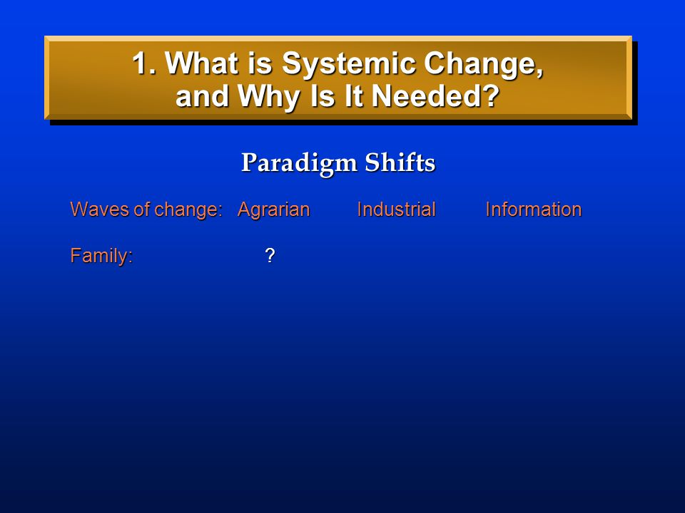 Waves of change: AgrarianIndustrialInformation Paradigm Shifts 1. What is Systemic Change, and Why Is It Needed?