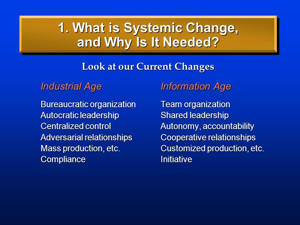Industrial AgeInformation Age Bureaucratic organizationTeam organization Autocratic leadershipShared leadership Centralized controlAutonomy, accountab