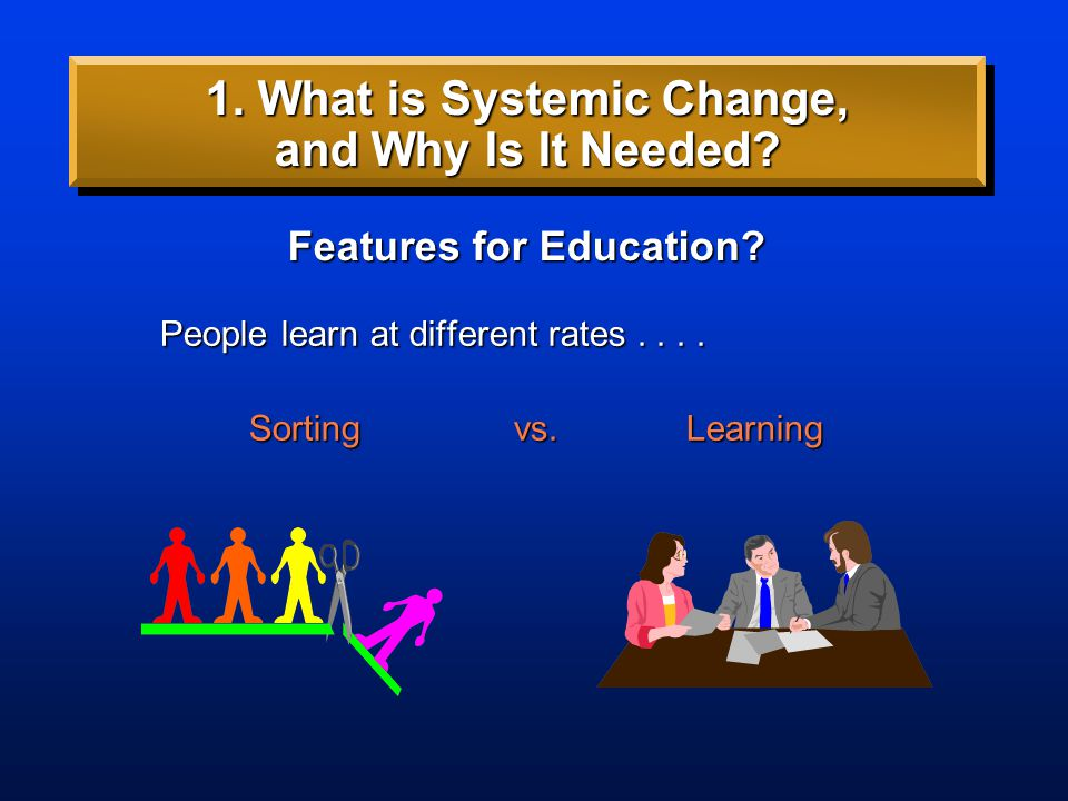 People learn at different rates.... People learn at different rates.... Features for Education? 1. What is Systemic Change, and Why Is It Needed?