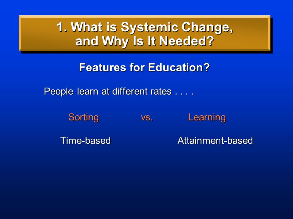 People learn at different rates.... People learn at different rates.... Sortingvs. Learning Sortingvs. Learning Features for Education? 1. What is Sys