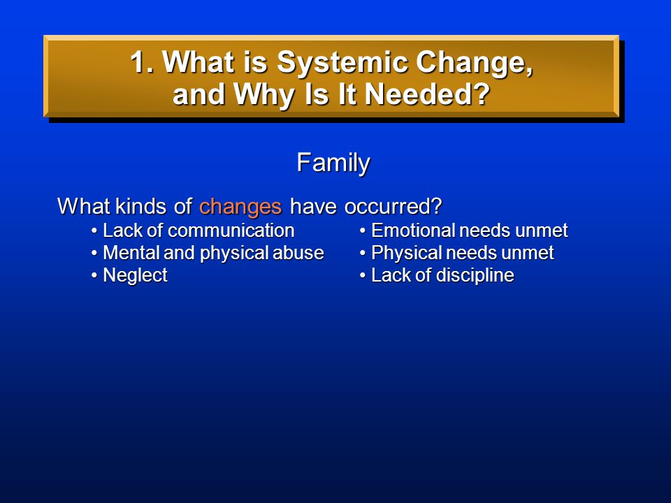 Family What kinds of changes have occurred? 1. What is Systemic Change, and Why Is It Needed?