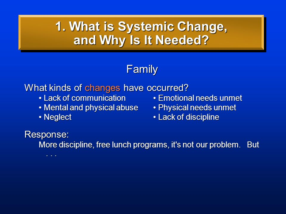 Family What kinds of changes have occurred? Lack of communication Emotional needs unmet Lack of communication Emotional needs unmet Mental and physica