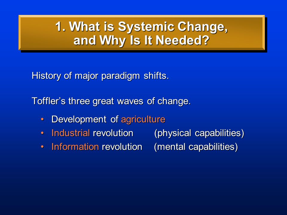History of major paradigm shifts. 1. What is Systemic Change, and Why Is It Needed