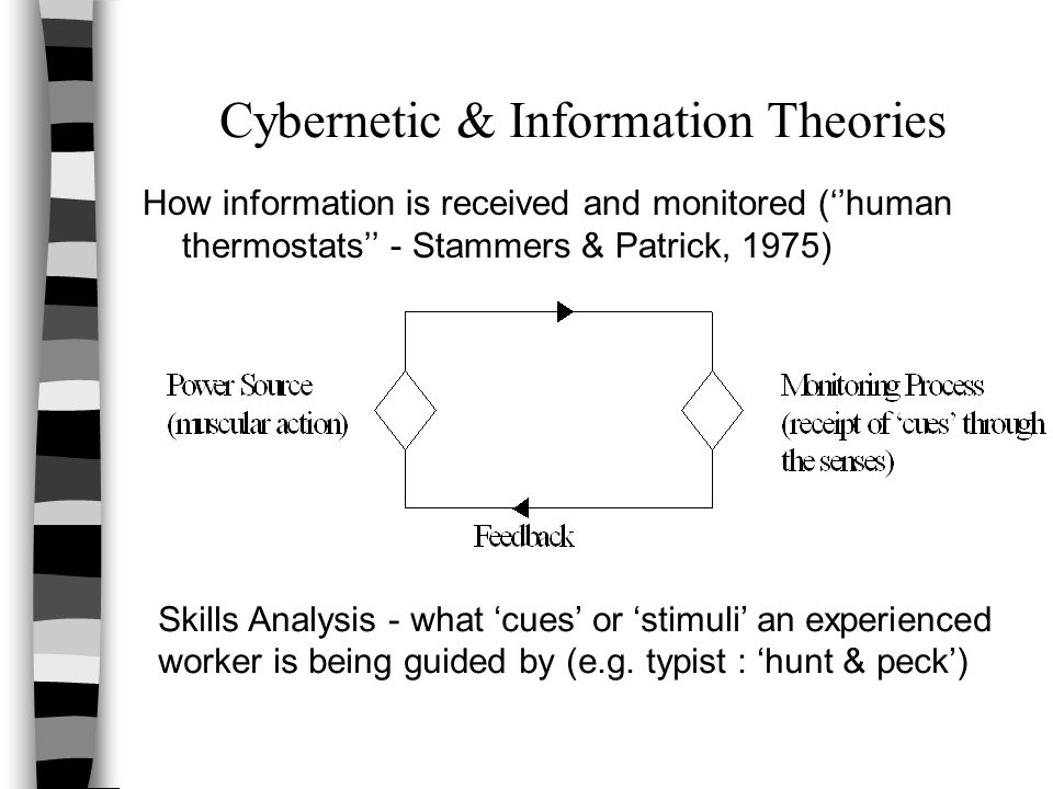 Cybernetic & Information Theories How information is received and monitored (''human thermostats'' - Stammers & Patrick, 1975) Skills Analysis - what 'cues' or 'stimuli' an experienced worker is being guided by (e.g.