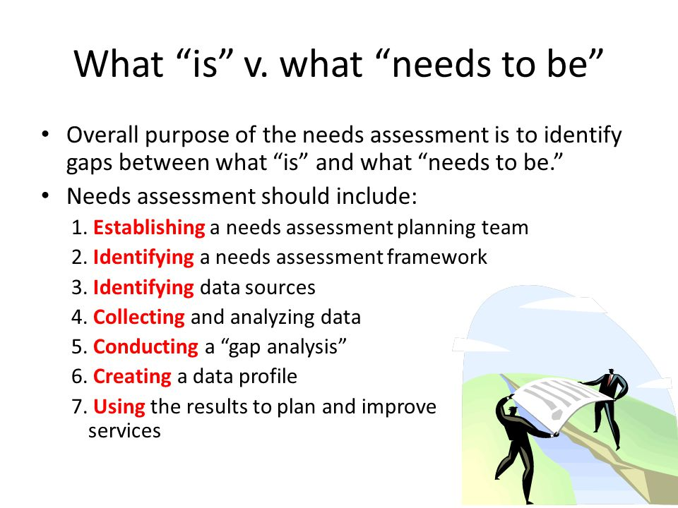 "What ""is"" v. what ""needs to be"" Overall purpose of the needs assessment is to identify gaps between what ""is"" and what ""needs to be."" Needs assessment"