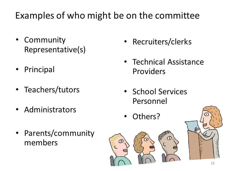 Examples of who might be on the committee Community Representative(s) Principal Teachers/tutors Administrators Parents/community members Recruiters/cl
