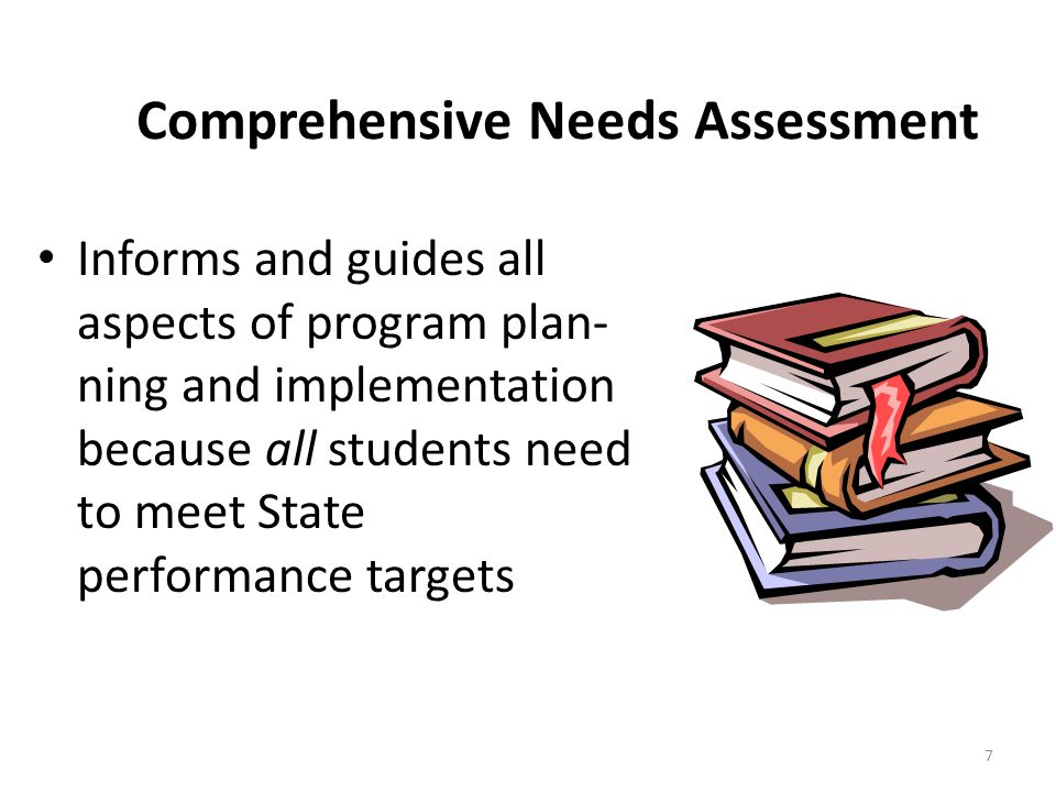 7 Comprehensive Needs Assessment Informs and guides all aspects of program plan- ning and implementation because all students need to meet State perfo