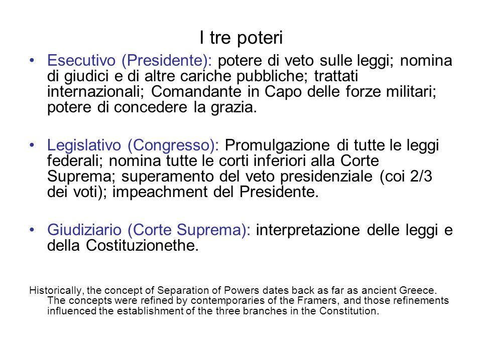I tre poteri Esecutivo (Presidente): potere di veto sulle leggi; nomina di giudici e di altre cariche pubbliche; trattati internazionali; Comandante in Capo delle forze militari; potere di concedere la grazia.