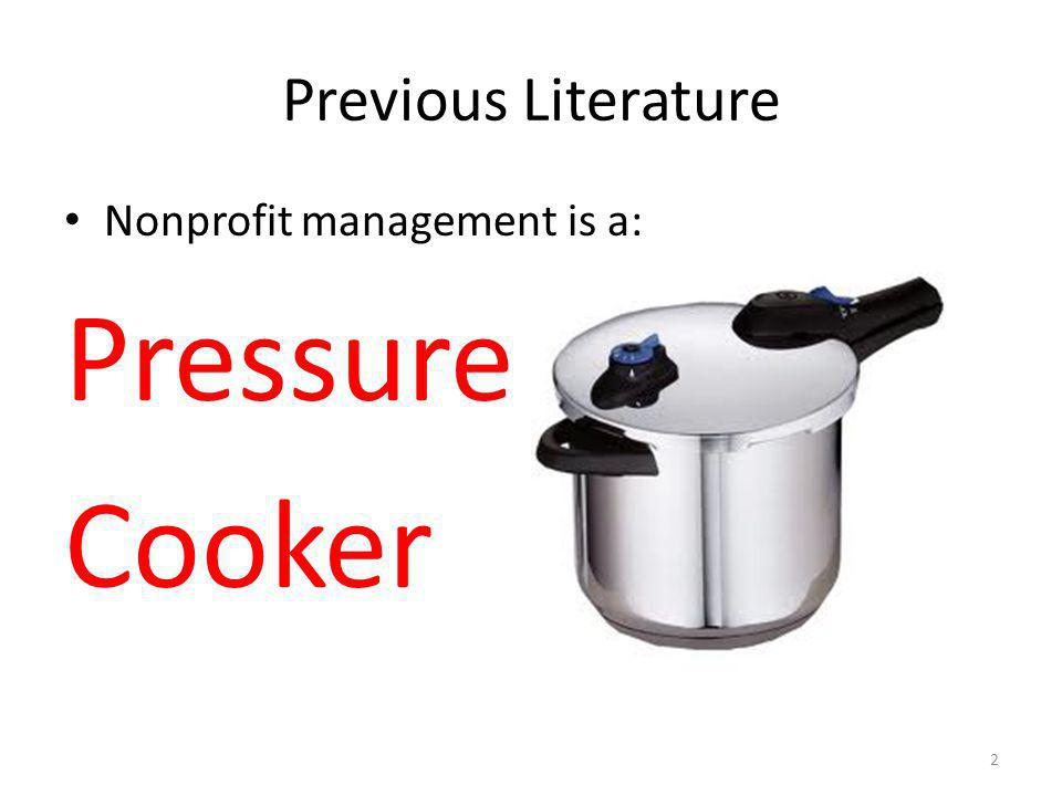 Previous Literature Nonprofit management is a: Pressure Cooker 2