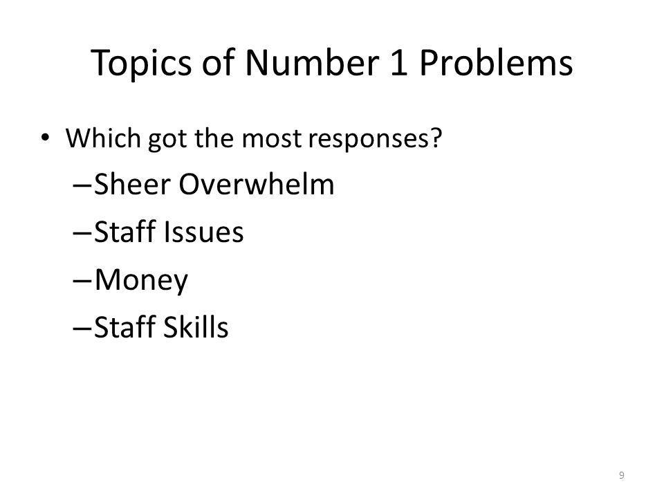 Topics of Number 1 Problems Which got the most responses.