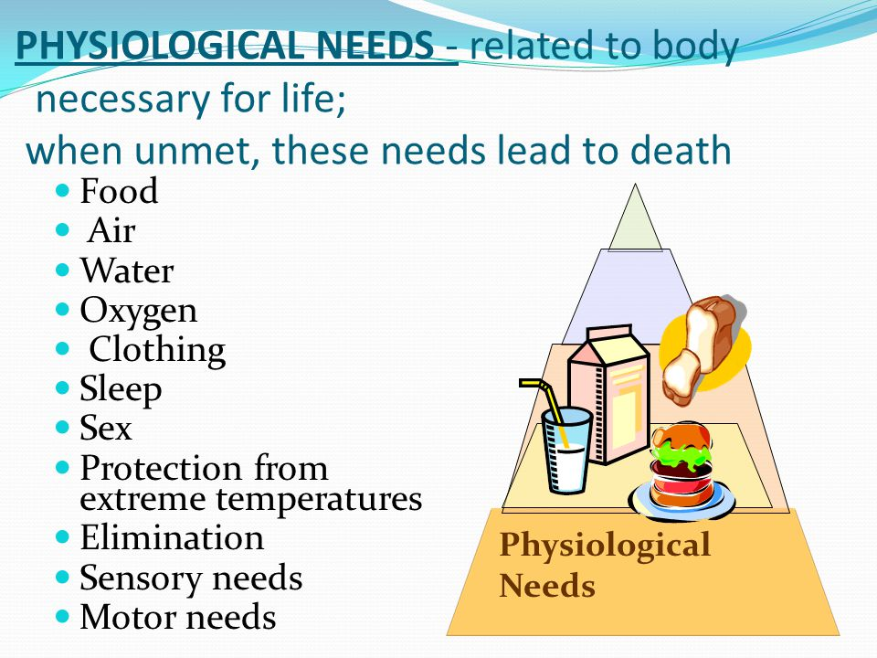 PHYSIOLOGICAL NEEDS - related to body necessary for life; when unmet, these needs lead to death Food Air Water Oxygen Clothing Sleep Sex Protection from extreme temperatures Elimination Sensory needs Motor needs Physiological Needs