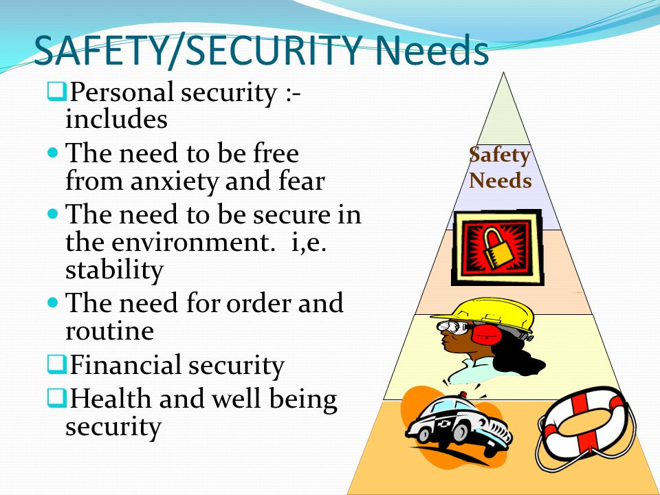 SAFETY/SECURITY Needs  Personal security :- includes The need to be free from anxiety and fear The need to be secure in the environment.