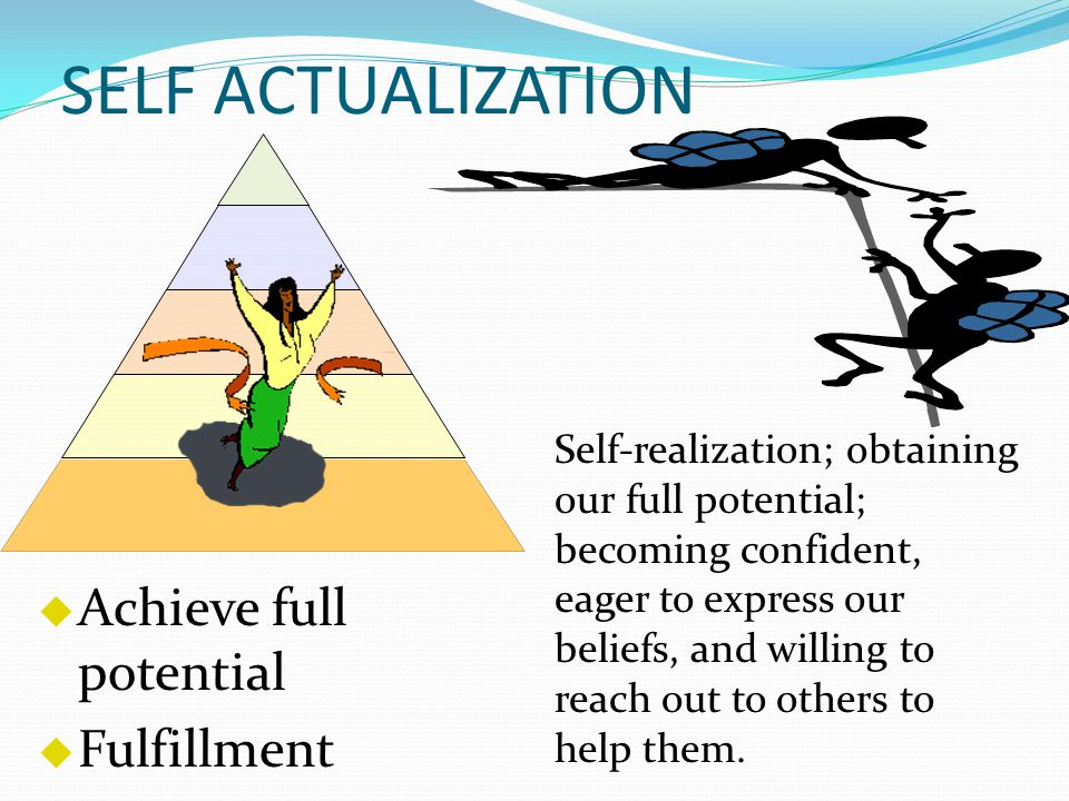 SELF ACTUALIZATION  Achieve full potential  Fulfillment Self-realization; obtaining our full potential; becoming confident, eager to express our beliefs, and willing to reach out to others to help them.
