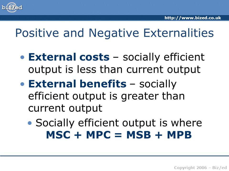 http://www.bized.co.uk Copyright 2006 – Biz/ed External costs – socially efficient output is less than current output External benefits – socially efficient output is greater than current output Socially efficient output is where MSC + MPC = MSB + MPB Positive and Negative Externalities
