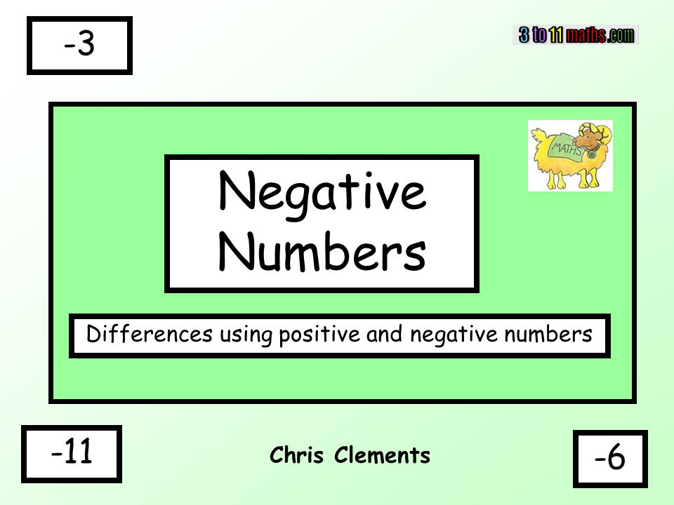 Chris Clements Negative Numbers Differences using positive and negative numbers -6 -3 -11