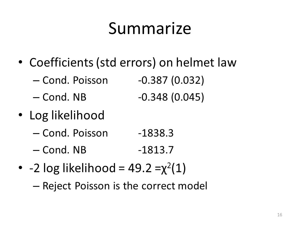 Summarize Coefficients (std errors) on helmet law – Cond.