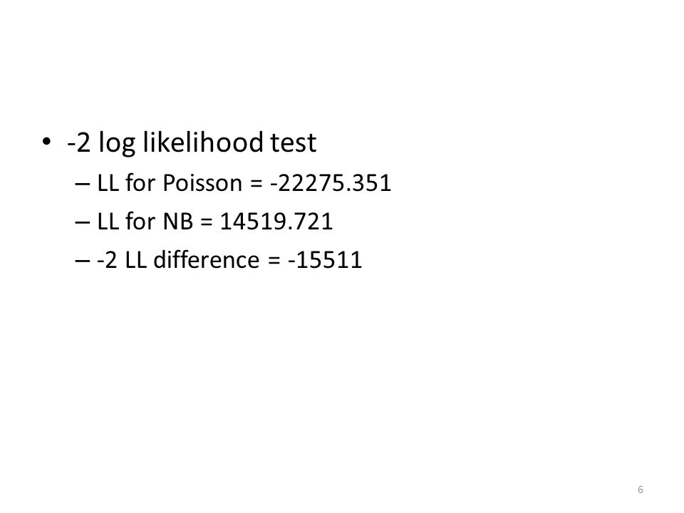 -2 log likelihood test – LL for Poisson = -22275.351 – LL for NB = 14519.721 – -2 LL difference = -15511 6
