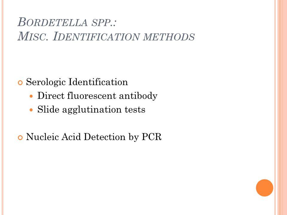 B ORDETELLA SPP.: M ISC. I DENTIFICATION METHODS Serologic Identification Direct fluorescent antibody Slide agglutination tests Nucleic Acid Detection