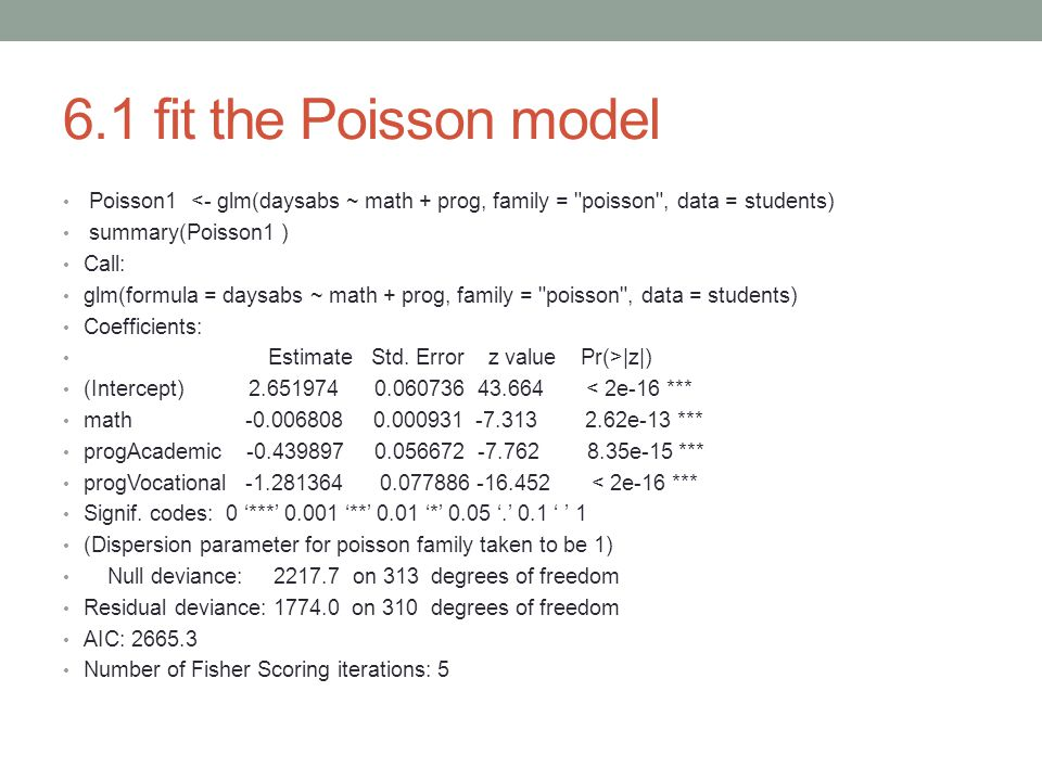 6.1 fit the Poisson model Poisson1 <- glm(daysabs ~ math + prog, family =