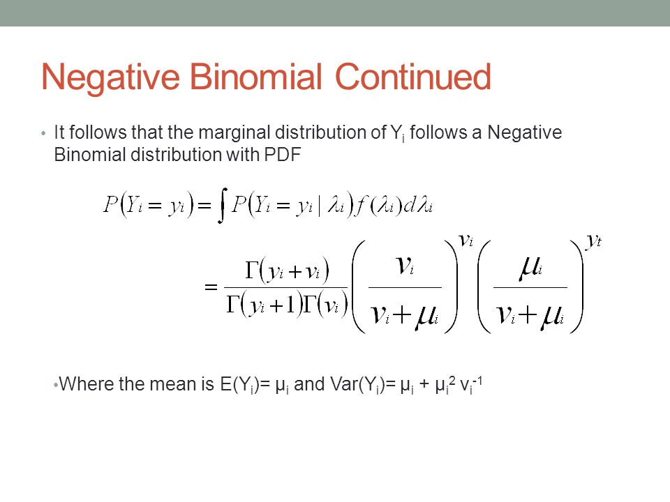 So we need to find a new model… Negative binomial regression can be used,when the conditional variance exceeds the conditional mean.