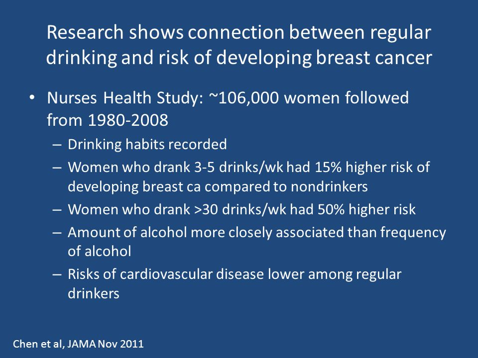 Research shows connection between regular drinking and risk of developing breast cancer Nurses Health Study: ~106,000 women followed from 1980-2008 –