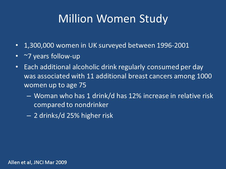 Million Women Study 1,300,000 women in UK surveyed between 1996-2001 ~7 years follow-up Each additional alcoholic drink regularly consumed per day was