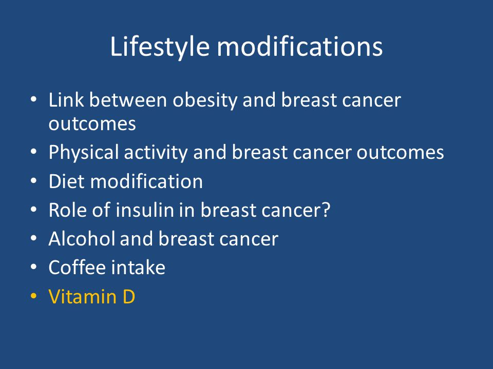 Lifestyle modifications Link between obesity and breast cancer outcomes Physical activity and breast cancer outcomes Diet modification Role of insulin