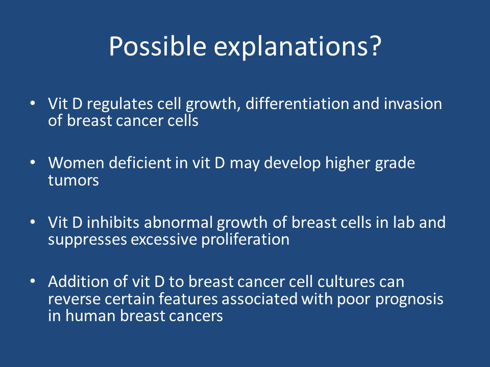 Possible explanations? Vit D regulates cell growth, differentiation and invasion of breast cancer cells Women deficient in vit D may develop higher gr
