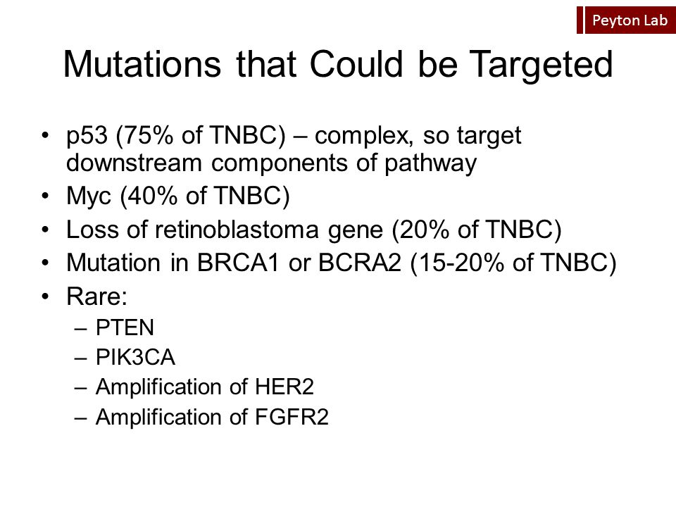 Peyton Lab Mutations that Could be Targeted p53 (75% of TNBC) – complex, so target downstream components of pathway Myc (40% of TNBC) Loss of retinobl