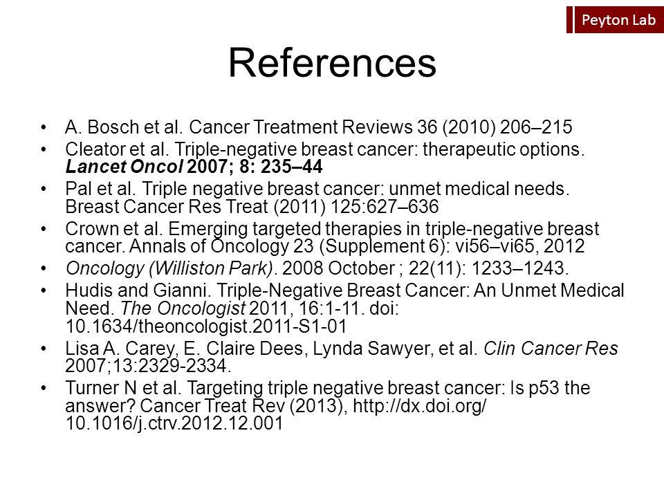 Peyton Lab References A. Bosch et al. Cancer Treatment Reviews 36 (2010) 206–215 Cleator et al. Triple-negative breast cancer: therapeutic options. La
