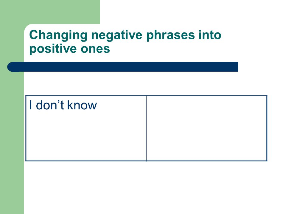 Changing negative phrases into positive ones I don't know