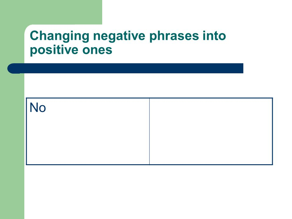 Changing negative phrases into positive ones No