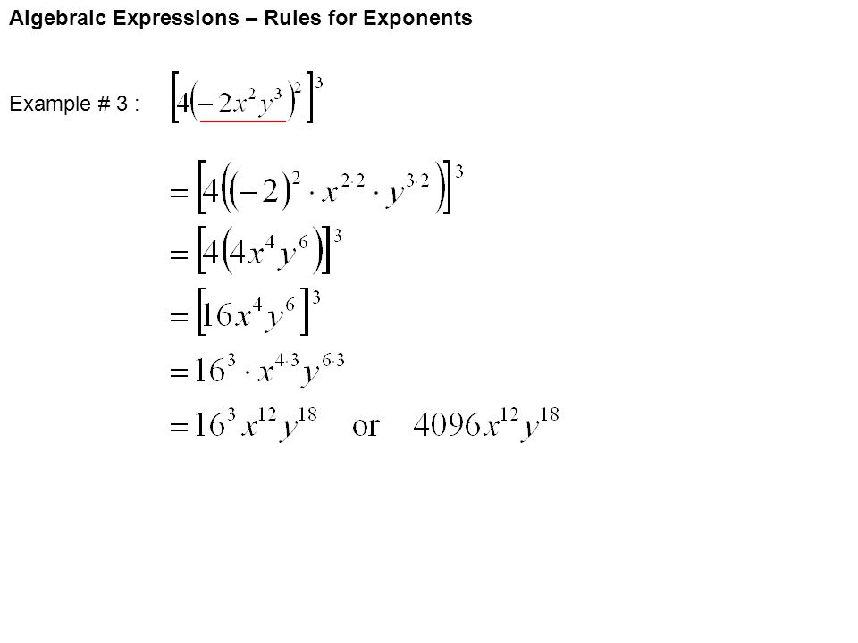 Algebraic Expressions – Rules for Exponents Example # 3 :