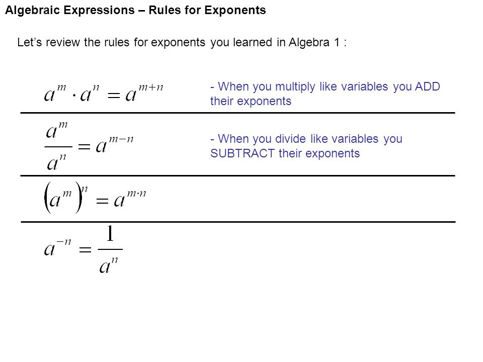 Algebraic Expressions – Rules for Exponents Let's review the rules for exponents you learned in Algebra 1 : - When you multiply like variables you ADD