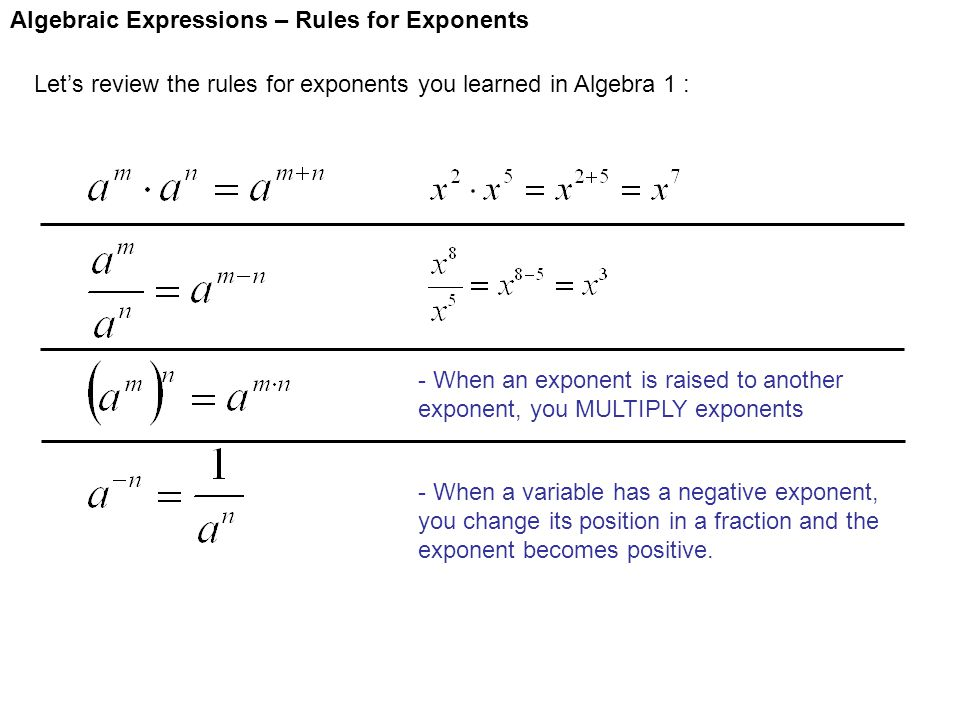 Algebraic Expressions – Rules for Exponents Let's review the rules for exponents you learned in Algebra 1 : - When an exponent is raised to another ex