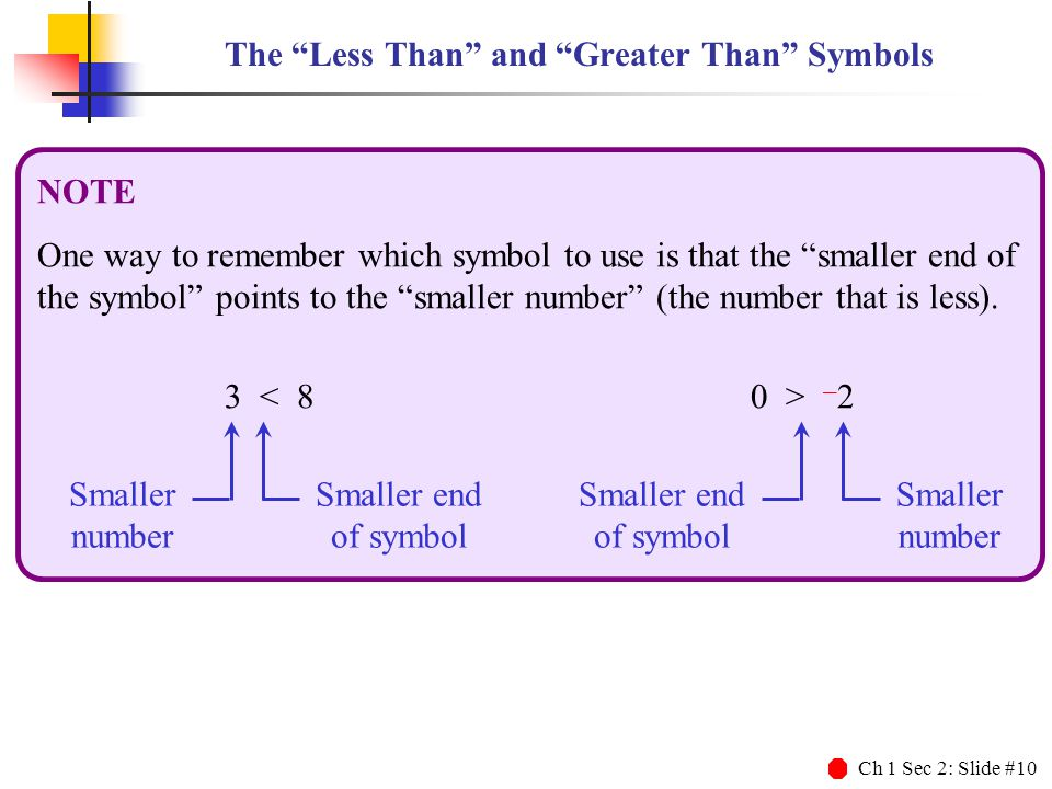 """Ch 1 Sec 2: Slide #10 The """"Less Than"""" and """"Greater Than"""" Symbols NOTE One way to remember which symbol to use is that the """"smaller end of the symbol"""""""