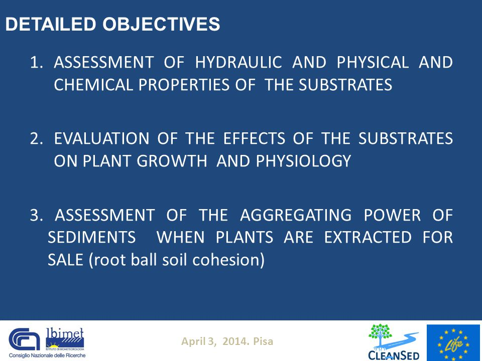 1.ASSESSMENT OF HYDRAULIC AND PHYSICAL AND CHEMICAL PROPERTIES OF THE SUBSTRATES 2.EVALUATION OF THE EFFECTS OF THE SUBSTRATES ON PLANT GROWTH AND PHY