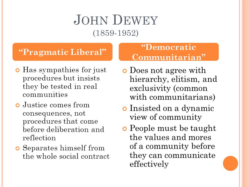 J OHN D EWEY (1859-1952) Has sympathies for just procedures but insists they be tested in real communities Justice comes from consequences, not procedures that come before deliberation and reflection Separates himself from the whole social contract Does not agree with hierarchy, elitism, and exclusivity (common with communitarians) Insisted on a dynamic view of community People must be taught the values and mores of a community before they can communicate effectively Pragmatic Liberal Democratic Communitarian