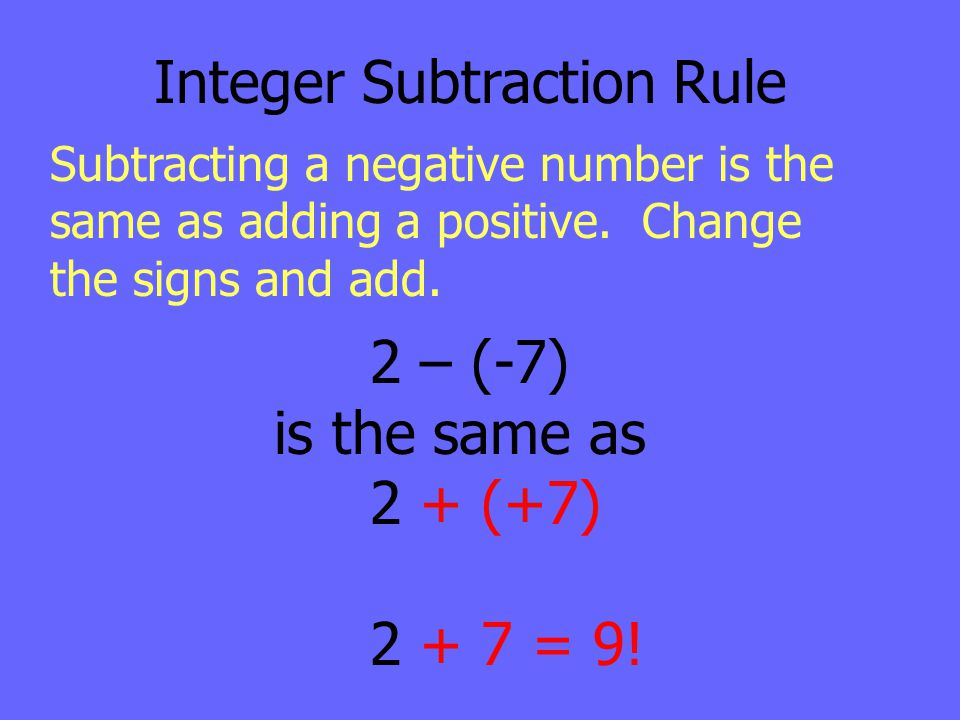Integer Subtraction Rule Subtracting a negative number is the same as adding a positive. Change the signs and add. 2 – (-7) is the same as 2 + (+7) 2