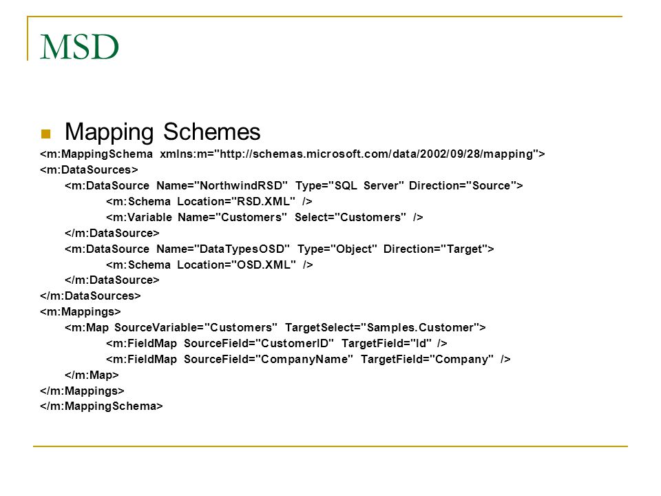 MSD Mapping Schemes