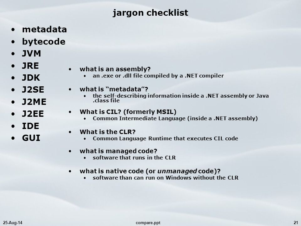 25-Aug-14compare.ppt21 jargon checklist metadata bytecode JVM JRE JDK J2SE J2ME J2EE IDE GUI what is an assembly.
