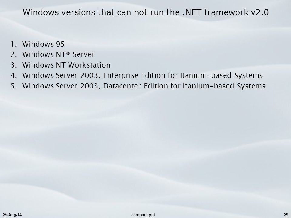 25-Aug-14compare.ppt29 Windows versions that can not run the.NET framework v2.0 1.Windows 95 2.Windows NT® Server 3.Windows NT Workstation 4.Windows Server 2003, Enterprise Edition for Itanium-based Systems 5.Windows Server 2003, Datacenter Edition for Itanium-based Systems
