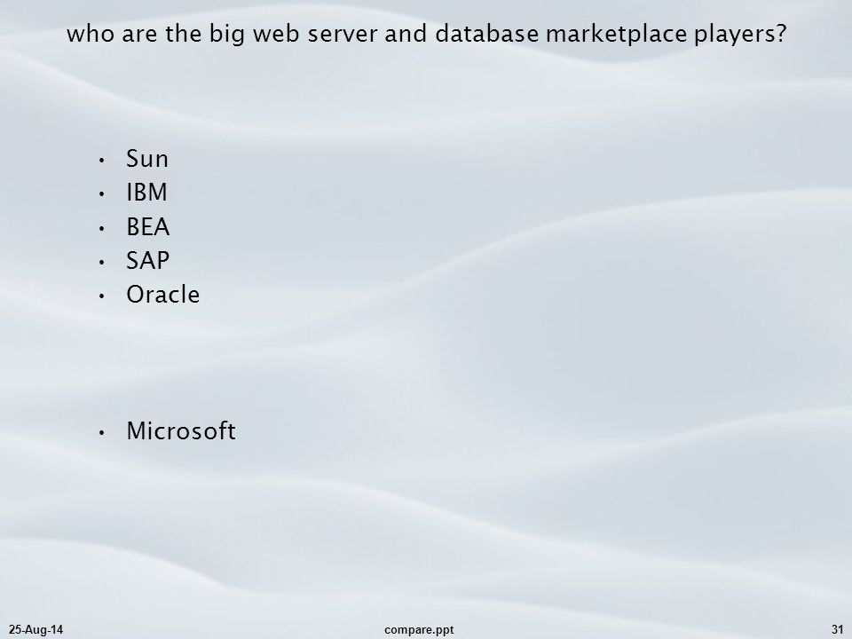 25-Aug-14compare.ppt31 who are the big web server and database marketplace players? Sun IBM BEA SAP Oracle Microsoft