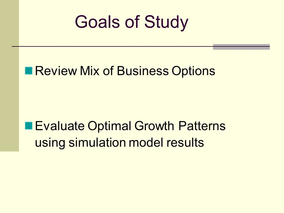 Goals of Study Review Mix of Business Options Evaluate Optimal Growth Patterns using simulation model results