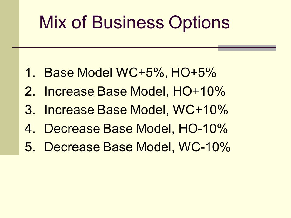 Mix of Business Options 1.Base Model WC+5%, HO+5% 2.Increase Base Model, HO+10% 3.Increase Base Model, WC+10% 4.Decrease Base Model, HO-10% 5.Decrease Base Model, WC-10%