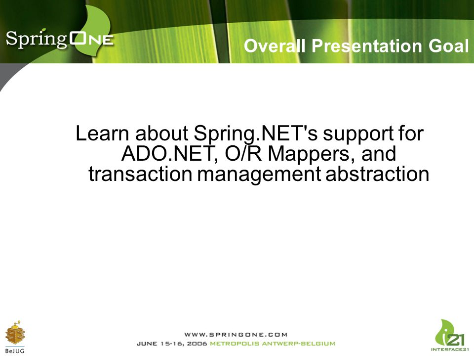 Overall Presentation Goal Learn about Spring.NET's support for ADO.NET, O/R Mappers, and transaction management abstraction