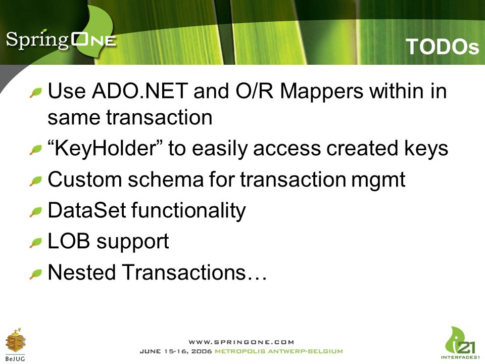 """TODOs Use ADO.NET and O/R Mappers within in same transaction """"KeyHolder"""" to easily access created keys Custom schema for transaction mgmt DataSet func"""