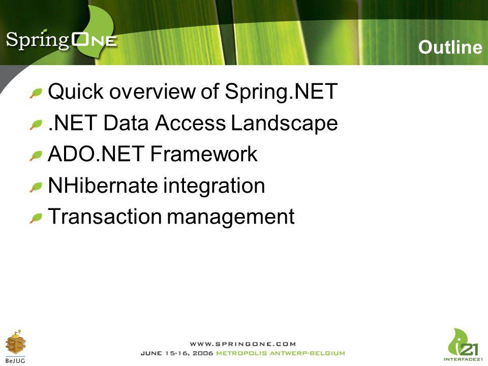 Outline Quick overview of Spring.NET.NET Data Access Landscape ADO.NET Framework NHibernate integration Transaction management