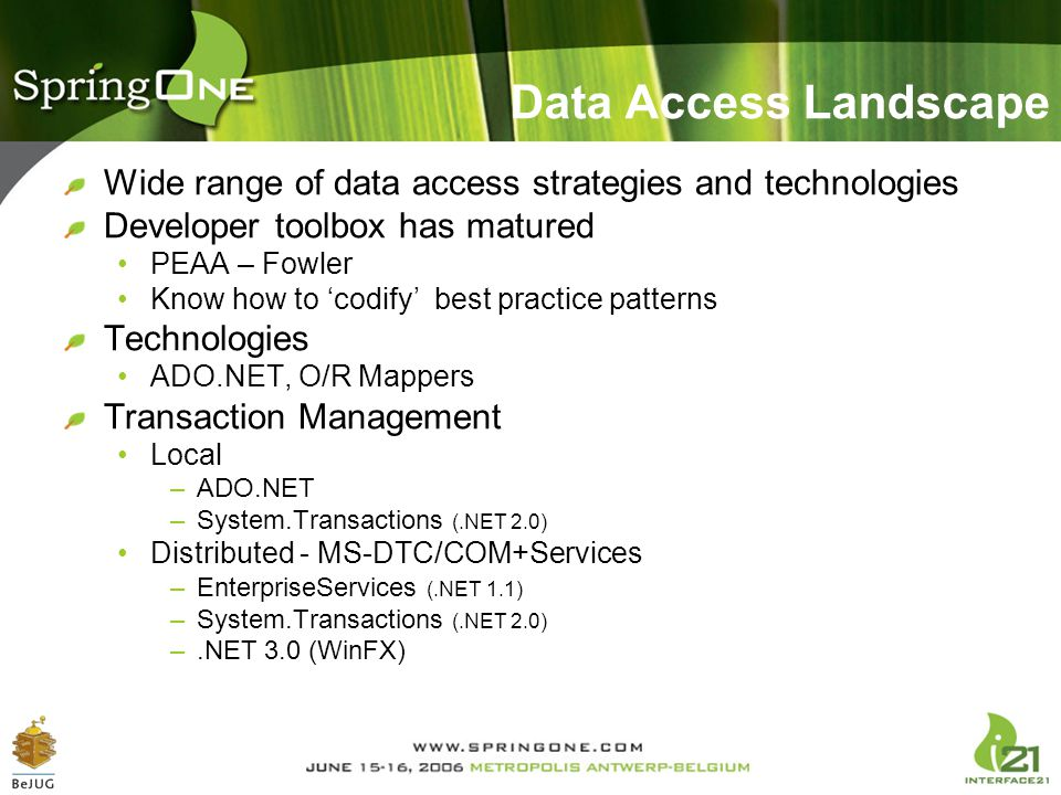 Data Access Landscape Wide range of data access strategies and technologies Developer toolbox has matured PEAA – Fowler Know how to 'codify' best prac